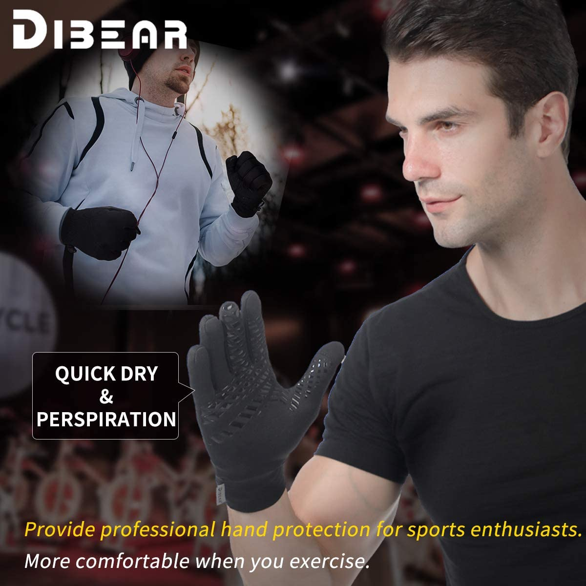 DIBEAR Winter Gloves of Men Women Anti-Slip Warm Touchscreen Gloves For Cycling Running Outdoor Training Activities