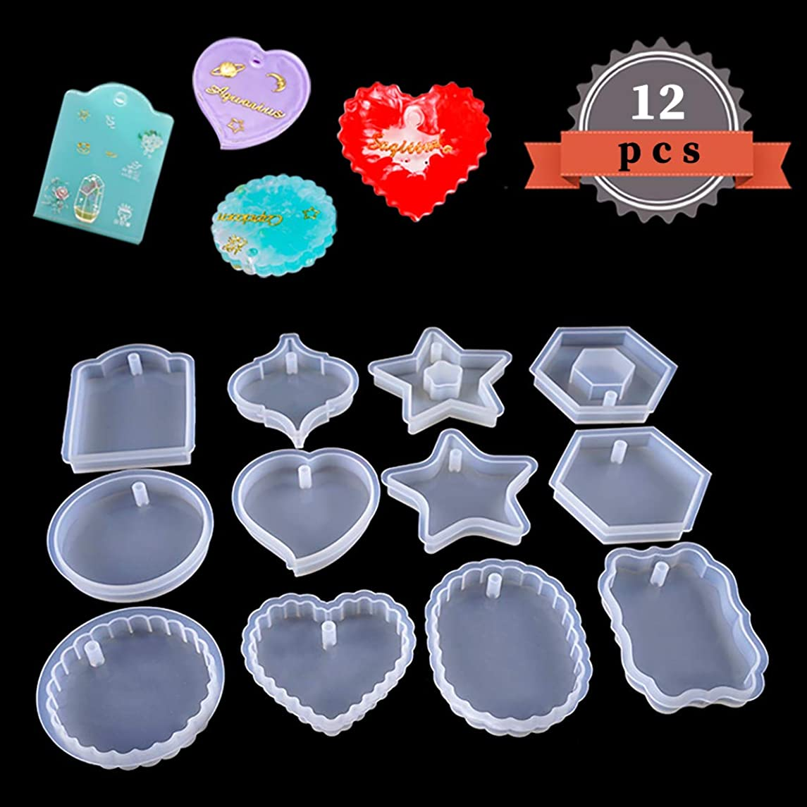 FineInno 12pcs Resin Molds Geometry Pendants Jewelry Making Casting Resin Silicone Mold with Holes for Polymer Clay Crafting