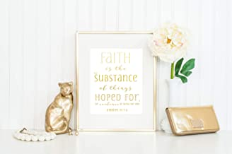 Arvier Faith is The Substance of Things Hoped for Print Bible Verse Wall Art Hebrews 111 Faith Print Faith Wall Art Gold Foil Faith Print Framed Wall Art