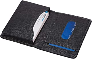 Genuine Leather Business Name Card Holder Case for Men I Credit Card Case Holder with Pocket Minimal Design I Classic Blac...