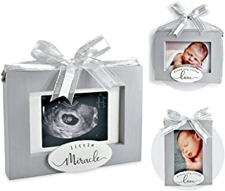 """I'm Solid Wood Sonogram Pregnancy Baby Ultrasound 2 Sided Photo Frame, Great for Expecting New Parents Baby Shower Gift Keepsake & Nursery Décor """"Little Miracle/Dream Big Little Love"""
