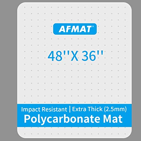 """Heavy Duty Office Chair Mat, 48"""" x 36"""", Polycarbonate Office Floor Mats, Office Chair Mat for Carpet, Office Carpet Protector Mat, Carpet Chair Floor Mat, Rectangular, Shipped Flat, Last for Years"""
