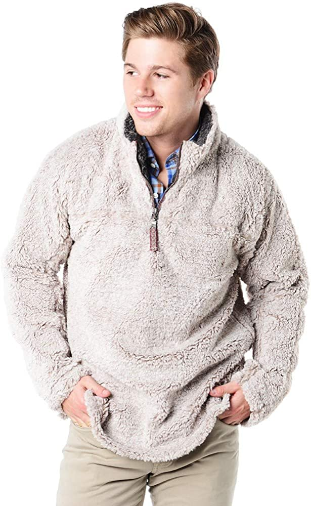 True Grit Mens Meange Sherling 1/2 Zip Pullover Oat