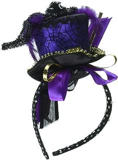 Loftus International Halloween Steampunk Spider Witch Mini Top Hat Headband, Blue Purple, One Size Novelty Item