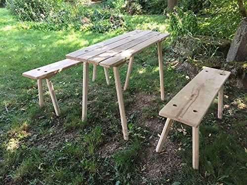 Schmale Sitzgarnitur für 4 Personen. Aus Eichenholz gesteckt, zerlegbar. Reenactment Larp Mittelalter
