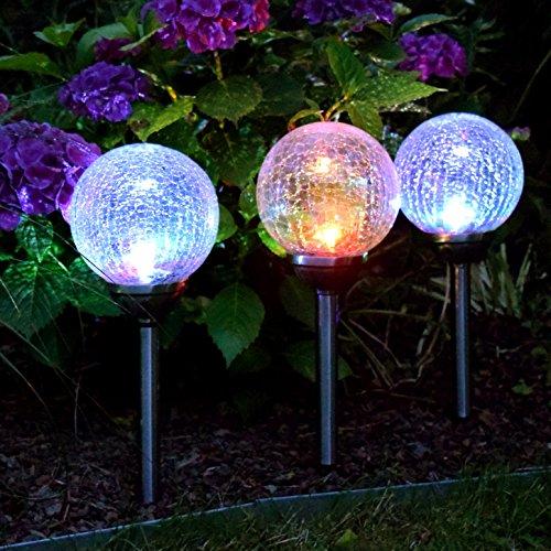 (694) LED Solar Leuchten 15cm Durchmesser Edelstahl farbwechsel Solarlampe Gartenleuchten
