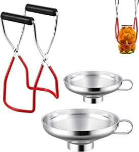 3 Pieces Stainless Steel Canning Funnel Canning Jar Lifter Set,Kitchen Jar Funnel,Canning Jar Lifter with Secure Grip Wide Mouth and Regular Jars for Home Canning Supplies,Kitchen Canning Tool (Red)
