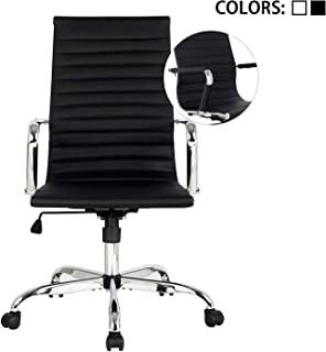 Elecwish,Adjustable Office Executive Swivel Chair, High Back Padded, Tall Ribbed, Pu Leather, Wheels Arm Rest Computer, Chrome Base, Home Furniture, Conference Room Reception (Black)