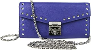 MCM Women's Spectrum Blue Leather Patricia Studded Large Chain Wallet MYL9SPA40HG001