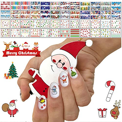 48 Sheets Christmas Nail Art Decals - Water Transfer DIY Nail Stickers Stencil for Women Girls Kids Manicure Nail Salon