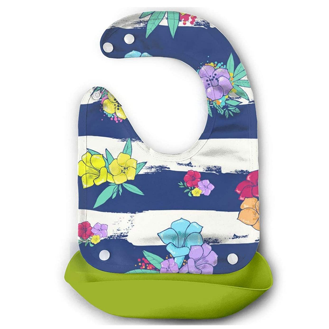 Baby Mouth Towel Colorful Flowers On A White-blue Dinner Baby Mouth Towel With Food Catcher Pocket
