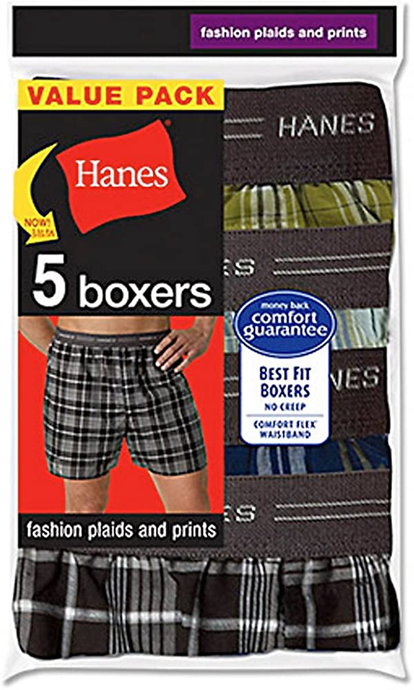 Assorted Hanes Mens 5-Pack Printed Woven Exposed Waistband Boxers