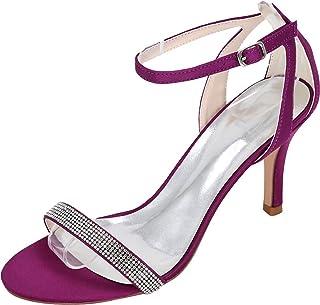 Vimedea Womens Dress Ankle Strap Heeled Sandals Wedding Bride Open Toe Satin 9920-13