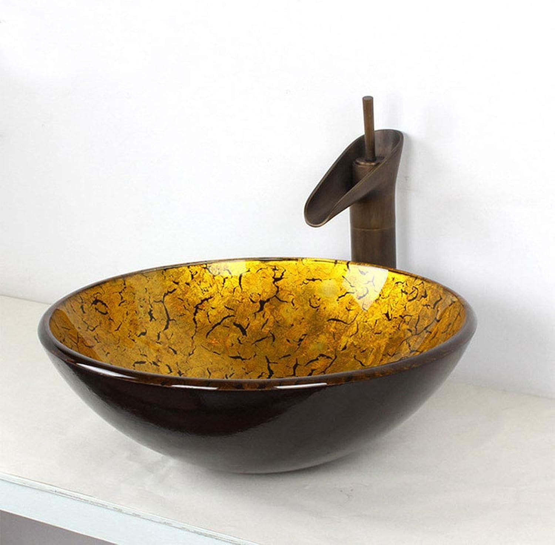 METTE Bad Europischen Retro Waschbecken + Wasserhahn Set, Gold Textur bleifreies gehrtetes Glas & Chrom Kupfer Wasserhahn, Pop-up Drain Set, Foiling Prozess