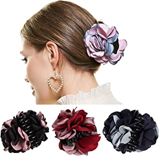 4 Pack Large Women Hair Clips Korean Beauty Ribbon Rose Flower Bow Jaw Clip Barrette Hair Claws ¡