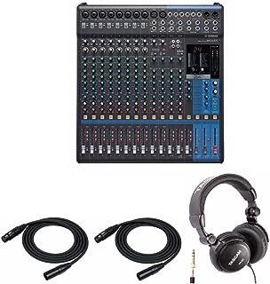 Yamaha MG16 16-Input 6 Bus Mixer with Studio Headphones and 2 XLR Cables