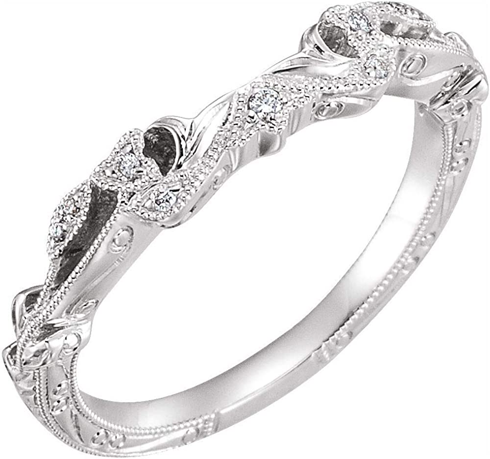 Solid 14k White Gold .05 Cttw Diamond Matching Curved Notched Wedding Band for 5.2mm, 5.8mm, and 6.5mm Round Ring Guard Enhancer - Size 6
