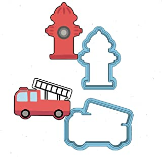 Fire Fighter Cookie Cutter Set - American Confections - Firetruck, Fire Hydrant - Set of 2 - MADE IN THE USA