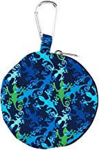 Gecko Green and Blue 4 x 4 Polyester Fabric Zipper Headphone Earbud Case