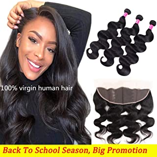 9A Brazilian Hair Body Wave 3 Bundles with Frontal (22 24 26+20) 100% Unprocessed Virgin Weave Hair Human Bundles Body Wave with Frontal Natural Color Frontals and Bundles Human Hair Extensions