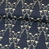 Baumwolljacquard Jersey Giraffen marine Kinderstoffe -