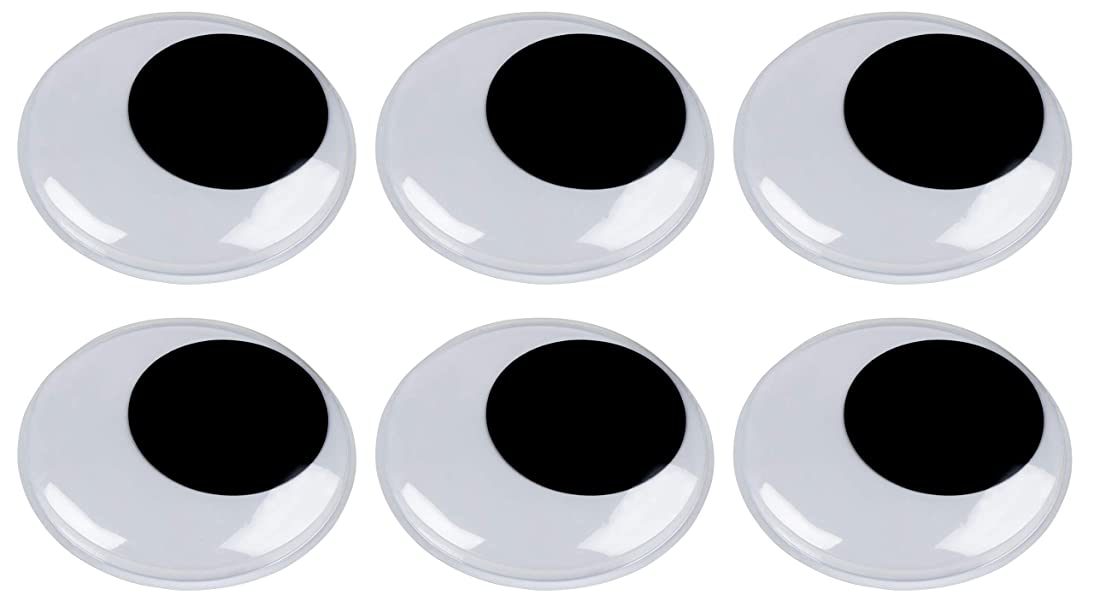 Giant Googly Eyes - 6-Pack Plastic Large Wiggle Eyes, Adhesive Moving Eyes, Art Craft Supplies, for DIY, School Projects, Toy Accessories, and Scrapbooking, Doll Making, Black, 5.9 Inches Diameter