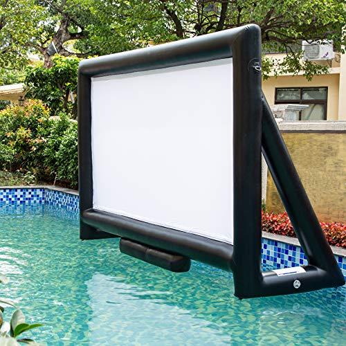 Sewinfla Aufblasbare Filmleinwand für den Außenbereich, 4,5 m, luftdichtes Design, für den Innen- und Außenbereich, kein Aufblasen nötig, unterstützt Front- und Rückprojektion