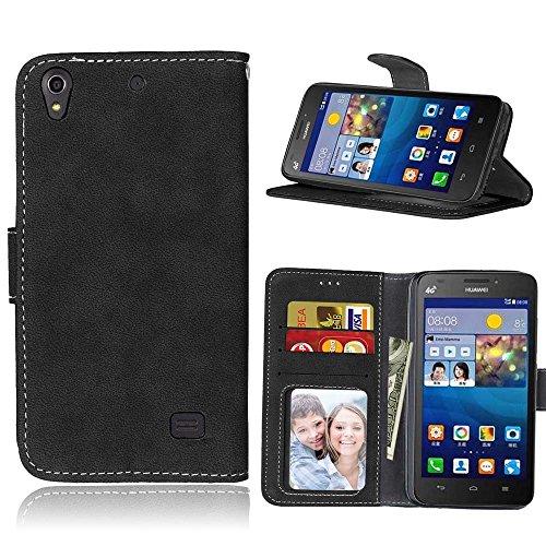 Huawei Ascend G620S Hülle, SATURCASE Retro Mattiert PU Leder Flip Magnetverschluss Brieftasche Standfunktion Kartenschlitze Schützend Tasche Schutzhülle Handycover für Huawei Ascend G620S (Schwarz)