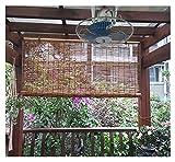 Mirui Cortina de Cebolla Natural, Tonos de Rodillos de bambú para Ventanas, Materiales respetuosos con el Medio Ambiente, bambú Retro enrollar persianas para Exteriores/Patio, Personalizable