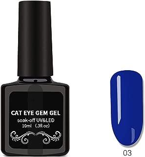 Cat Eyes Nail Polish, Nail Art Removable Nail Polish, Magnet Gem Wide Cat Eyes Colored Glass Star Glue 01,06
