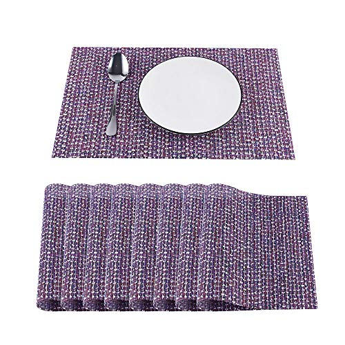 Jouyi YarnKnot Vinyl Placemats for Dinning Table Set of 8, Heat-Resistant Tabletop Place Mats Non-Slip wipeable PVC Placemats