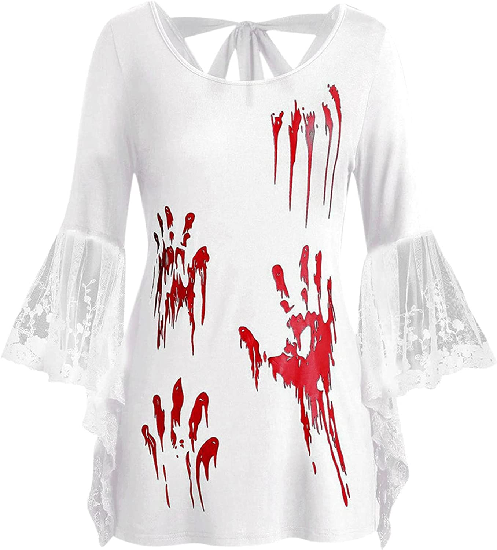 Award-winning store Women Autumn Plus famous Size Tops Round Sleeve Long Lace T-Shirt Neck