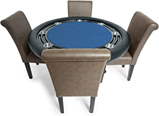BBO Poker Nighthawk Poker Table for 8 Players with Felt Playing Surface, 55-Inch Round, Includes 6 Dining or Lounge Chairs