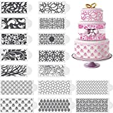 16 Pieces Cake Decoration Stencils Cake Decoration Templates Wedding Cake Decorative Flower Edge Molding Baking Tool for Cupcake Wedding Cake Decoration Supplies