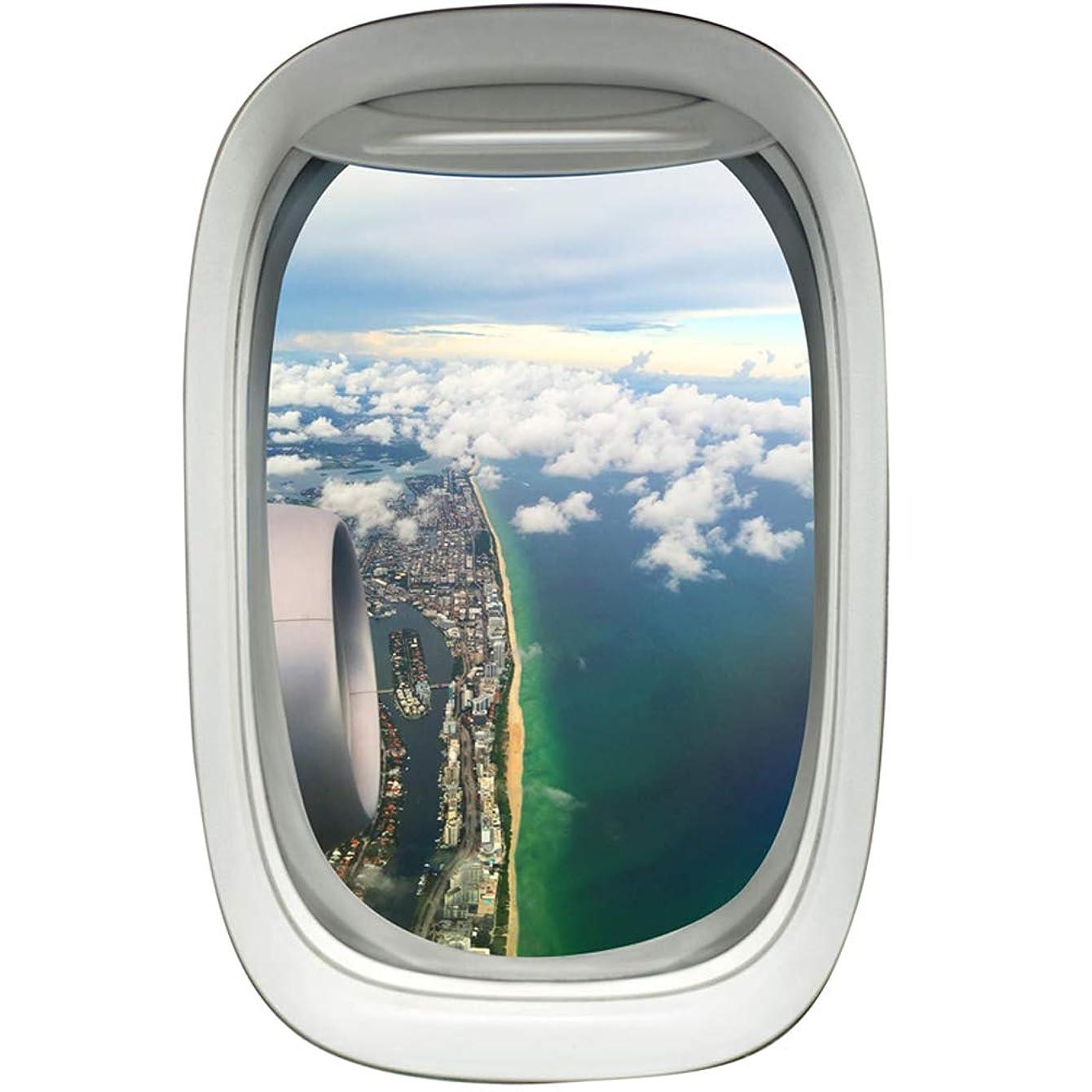 VWAQ Commercial Airplane Window Decal Beach Coastline Scene Aviation Decor PW8