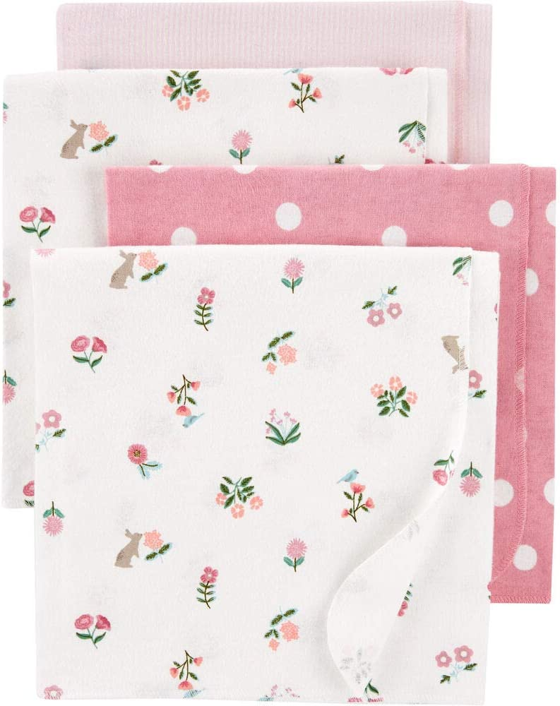 Carter's Baby 4-Pack Pink Receiving Blankets, Large