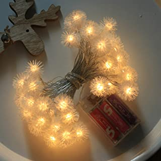 Barhalk 10LED 1.5 M Puffer Ball Light Fairy String Lights Battery Operated Night Lamp for Wedding Theme Party Festival Christmas Tree Xmas Holiday New Year Garden Decoration