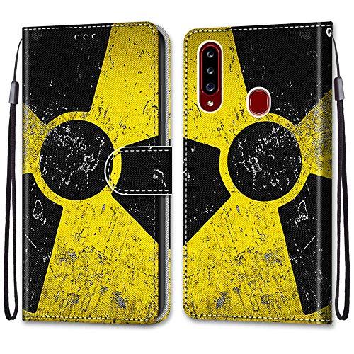 Nadoli Handyhülle Leder für Samsung Galaxy A20S,Bunt Bemalt Schwarz Gelb Zeichen Trageschlaufe Kartenfach Magnet Ständer Schutzhülle Brieftasche Ledertasche Tasche Etui