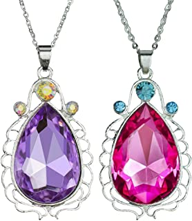 2pcs Sofia Amulet Necklace Teardrop Amethyst Pendant Necklace Sofia The First Princess Costumes Jewelry Girls Necklace