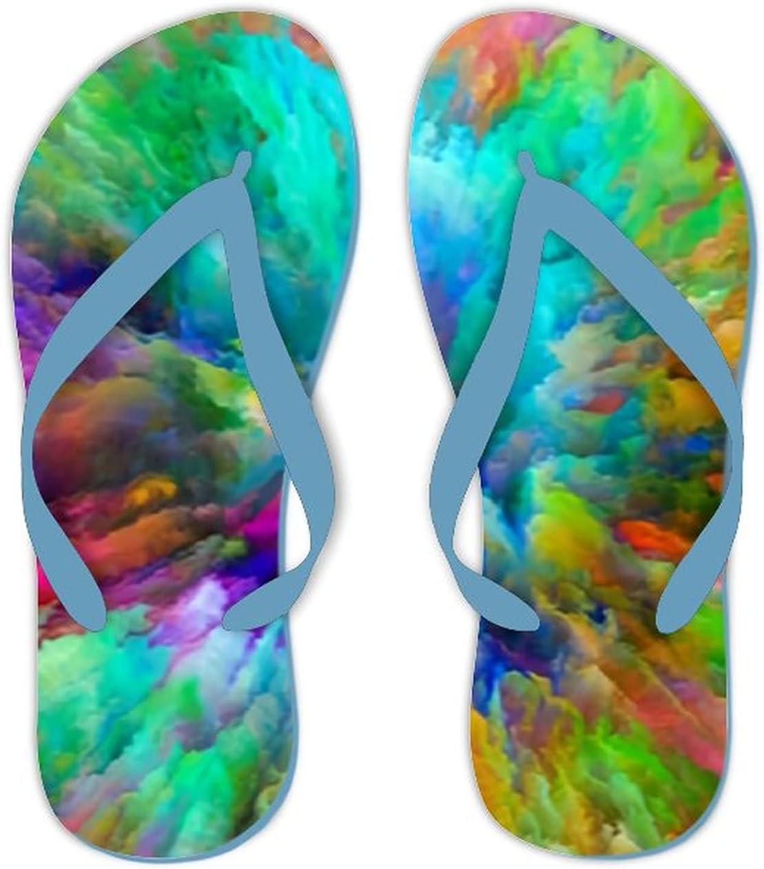Summer Flip Flops for Men Women Color Splash Series Visually Attractive Soft Lightweight Non Slip Sandals for Shower Beach Pool Bathroom Flat 6.5