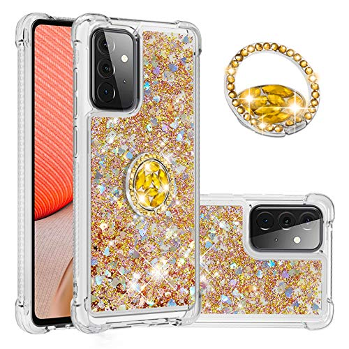 SEEYA - Funda para Samsung Galaxy A72 5G con purpurina líquida soporte anillos, transparente gel de silicona TPU transparente brillante flotante arena movediza, a prueba golpes, color dorado
