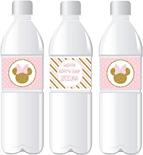 Personalize Mouse Inspired WATER BOTTLE LABELS - Printed & Shipped - Peel & Stick