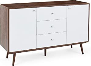 EROMMY Sideboard Buffet Cabinet, TV Stand Mid Century Modern Console Table with 2 Cabinets and 3 Drawers Adjustable Shelve...