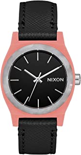 Nixon Medium Time Teller Leather Watch - Peach/Black