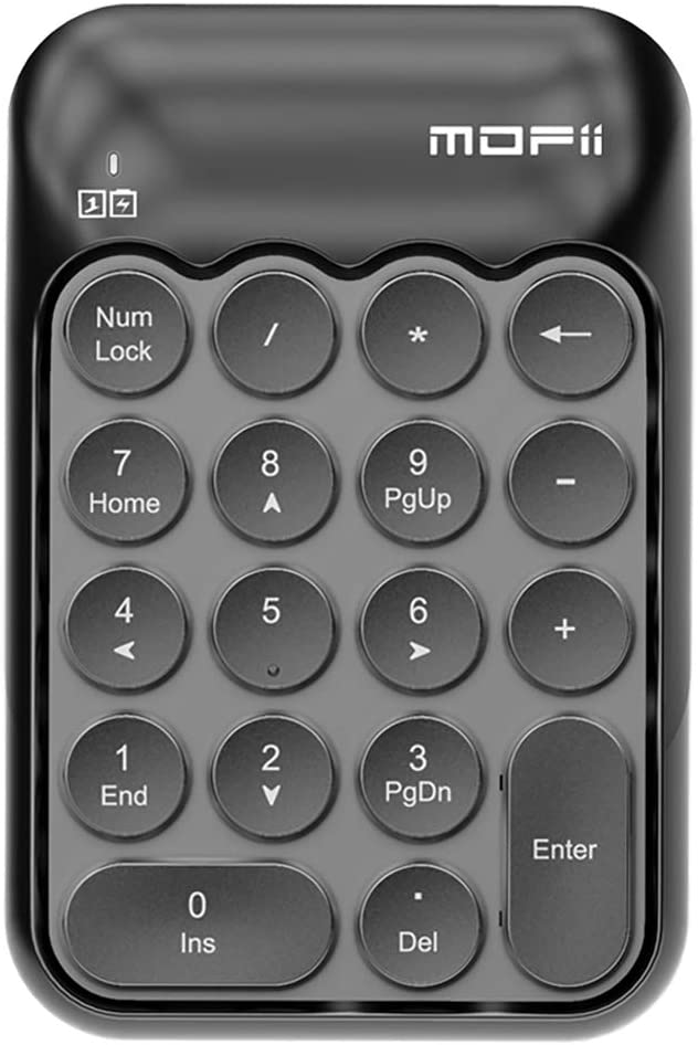 Wireless Numeric Keypad,Portable Mini USB 2.4GHz 18 Key Financial Accounting,Number Keyboard for Laptop Desktop, PC, Surface Pro,Notebook (Black)