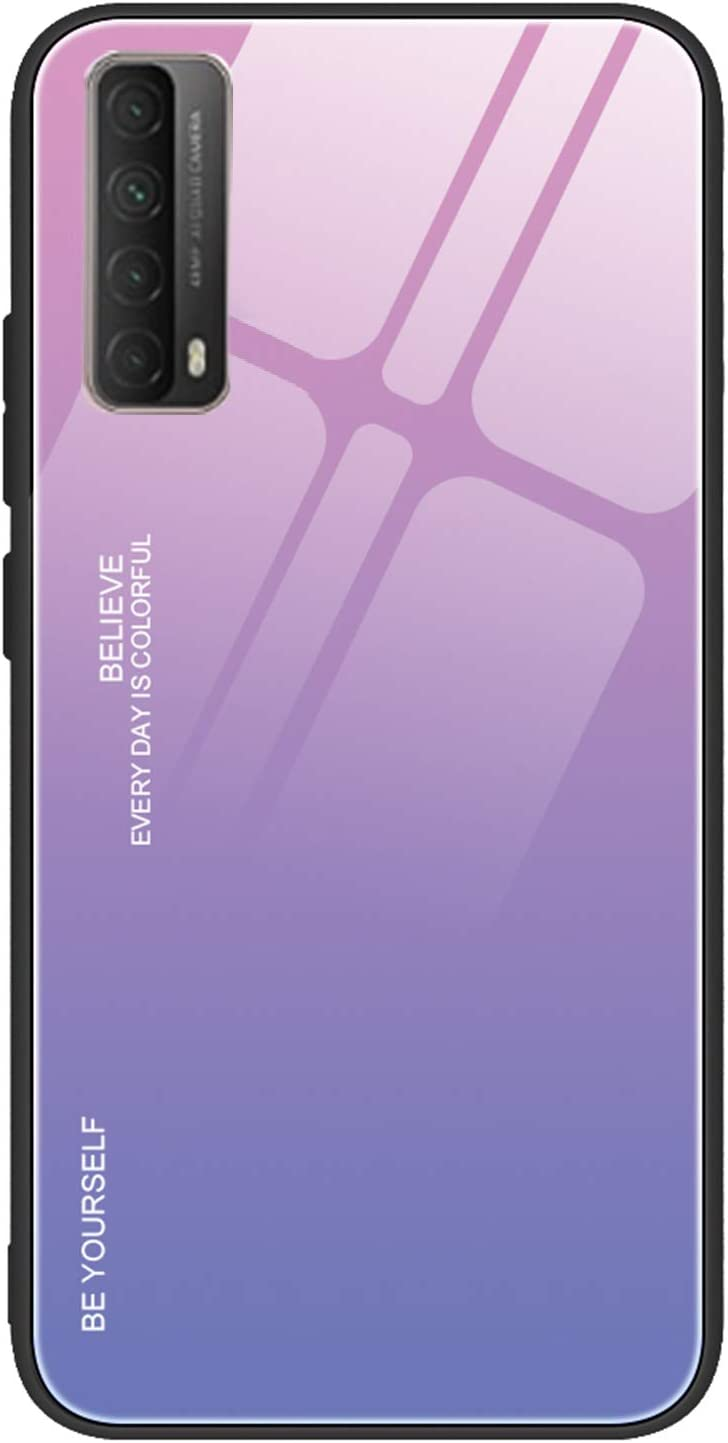 FANFO/® D/égrad/é de Couleur Coque pour Huawei P Smart 2021 6 Verre Tremp/é Ultime avec Encadrer en TPU Real Glass Silicone Souple Anti-Rayures Antichoc Case