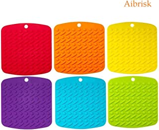 Aibrisk Silicone Pot Holders - Silicone Trivets Mats for Hot Dishes Pot Holders Heat Resistant, Spoon Rest and Garlic Peeler Non Slip Multipurpose Kitchen Tool 7x7