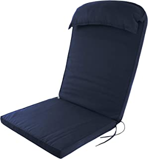 Plant Theatre Adirondack Chair Luxury High Back Cushion with Head Pillow in Cool Dark Navy