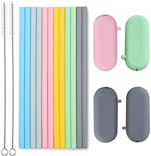 "Sunseeke Silicone Straws Set - Odorless, 12 Standard Reusable Drinking Straws, 4 Carry Pouch, 2 Cleaning Brushes, Certificated Food Grade Platinum Silicone - 8 1/2"" Long"