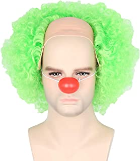 Topcosplay Unisex Green Clown Joker Wig with Nose Halloween Costume Party Wigs